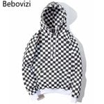 Checkerboard Plaid  Fleece Pullover  Hip Hop Hoodie