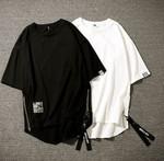 Hip-hop Chic Loose Zipper 5 Quarter Sleeve T-shirt