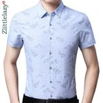 slim fit  casual luxury striped short sleeve shirt