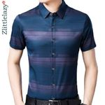 slim fit  casual luxury striped short sleeve shirt