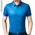slim fit men  casual luxury striped short sleeve shirt