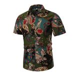 Elegant  Vintage Printed Slim Short Sleeve Shirts