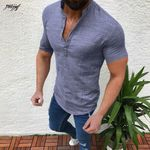 Casual Cotton Linen V Neck Loose  Short Sleeve Shirt