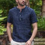 Vintage Splicing Button Linen Short Sleeve Shirts