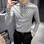 Luxury Plaid Long Sleeve Casual Slim Fit   Dress Shirts