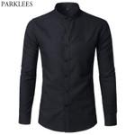 Collar Long Sleeve Oxford Slim Fit Dress Shirt