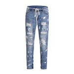 Hip hop Ripped Graffiti Print  Zipper Slim Fit Jeans
