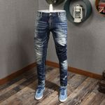 Retro Wash Spliced Ripped Fashion Jeans