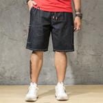 elastic waist  loose  denim shorts