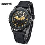 Leather Strap  Sports Military  Batman Emblem Watches