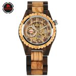 Clock Automatic Self Skeleton  Wood Watch