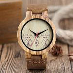Quartz Wrist Dial Genuine Leather Wooden  Watch