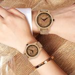 Lovers Quartz Leather Bands Fashion  Wood Watch