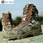 Canvas Round Toe Zipper Lace Up  Military Tactical Boots