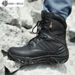 Shoes Genuine Leather Waterproof  Lace Up Tactical Boot