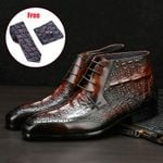 brogue casual ankle flat Genuine cow leather boots