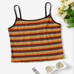 Stretchy Slim Fit  Spaghetti Strap Stripe Knit Boho Top