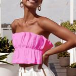 Vest Strapless Tank Fashion  Ruffle Crop Boho Tops