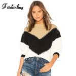 Pullovers  Knitted Long Sleeve Slim Patchwork Boho Sweaters
