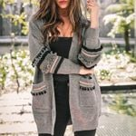 Long Sleeve  Knit Cardigan  Knitted Vintage Boho Sweater