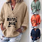 Loose Long Sleeve Cotton Linen V-Neck Boho Blouse