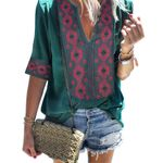 Sexy V Neck Casual printed  Ethnic Style Bohemian Blouse
