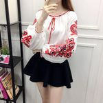 Long Sleeve Casual Loose Cotton Linen Boho Blouses