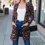 Leopard Cardigan  Snake Print  Long Sleeve Boho  Coat