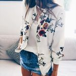 Slim Fit Lapel Floral Printed Casual Boho Jackets