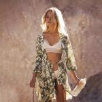 Cardigan Vintage 3/4 Sleeve Sashes  Floral Print Kimono