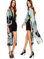 Cardigan Fashion Floral Printed Shawl Long Boho Kimono