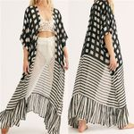 Casual Plaid Striped Patchwork Printed Half Sleeve  Kimono