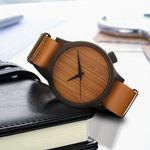 Luxury Leather fashion Business  Hombre Wood Watch