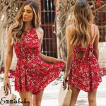 Sexy Backless Sleeveless Floral Boho   Romper