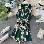 sexy v-neck floral short Bohemian rompers