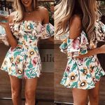 Off Shoulder Ruffle  Sexy Fashion Floral Printed Boho Romper