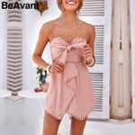 Sexy strapless bow cotton Elegant lace Bohemian  romper