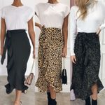 Fashion Slim Casual Leopard Print Wrap Boho Skirt