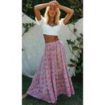 Floral Vintage  Skinny Long High Waist Boho Skirt