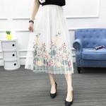 Elastic Waist Flower Mesh Midi  A-Line Boho Skirt