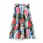 pleated floral fashion vintage high waist bohemian skirt