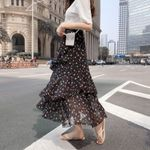 Ruffles Polka Dot Layer Flare High Waist Boho Skirts