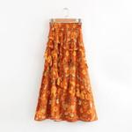 Floral Print Ruffles Bohemian  Skirts