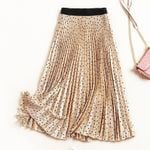 Long Elastic Waist Pleated  Vintage Boho  Skirts