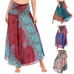 Long Hippie Gypsy Flowers Elastic Waist Floral Halter Boho Skirt