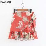 ruffles chic print high waist tie up bow  boho skirts