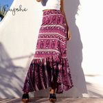 Tribal Print Ruffled Flounce High Waist Long Boho Skirt