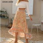 Floral Print Long Skirt High Waist Ruffles Boho Skirt