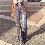 High Elastic Waist Vintage  Striped Printed Flare Boho Pants
