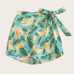 Fashion Casual Banana Printed Bandage Tie Boho Shorts